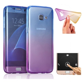 Shockproof TPU 360 Degree Protective Clear Crystal Rubber Soft Ombre Case Cover For Samsung Galaxy A7 2017 / SM-A720F (Blue/Purple) - intl