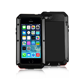 Shockproof Waterproof Aluminum Glass Metal Case Cover for iPhone 5/5S (Black)
