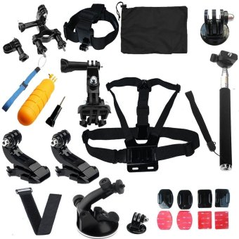 SHOOT Action Camera Accessories Kit with Carrying Case + ChestStrap + Bicycle Bracket kit + Headban + Self Stick + Mount forGoPro SJCAM Xiaomi Yi Action Camera