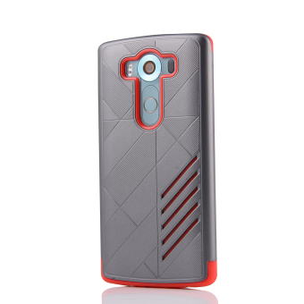 Silicon + PC Combo Case for LG V10 (Grey+Red) - 2