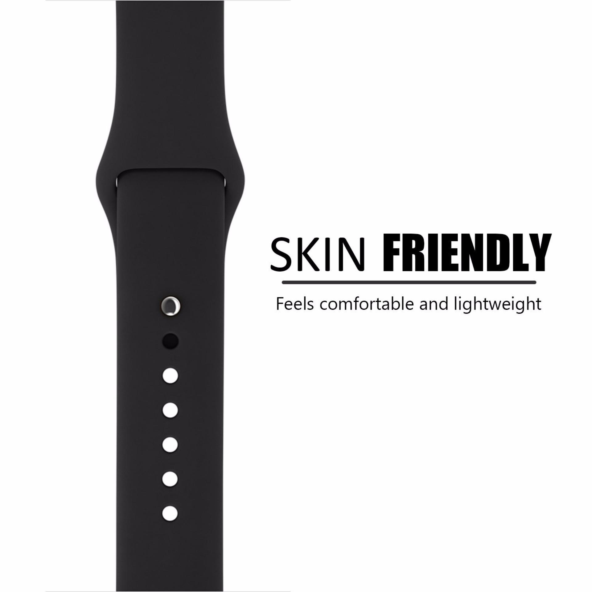 ... Silicone 42mm Sports Watch band Bracelet Strap for Apple Watch Series 1 2 (Black) ...