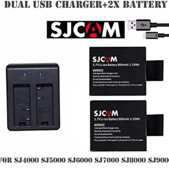 SJCAM Dual Slot Battery USB Charger CD-DX06 with 2 pieces 3.7vLi-Ion 900mAh SJCAM Battery