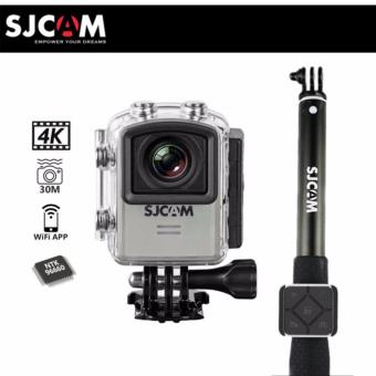 SJCAM M20 WIFI 16MP Action Camera (Silver) with SJCAM MonopodSelfie Stick with Waterproof Smart RF Remote Shutter (Black)