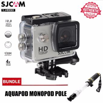 SJCAM SJ4000 2.0' Display Screen Wide-Angle 12MP Latest ModelAction Camera (Silver) with Aquapod Floating Monopod Pole(Clear/Black) Price Philippines