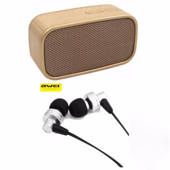 SK-ONE N13 Megabass Wireless Speaker (Gold) with Awei ES-90vi CableEarphone 1.2m with Mic Volume Control (Silver)