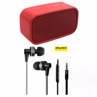 SK-ONE N13 Megabass Wireless Speaker (Red) with Awei ES-90vi CableEarphone 1.2m with Mic Volume Control (Black)