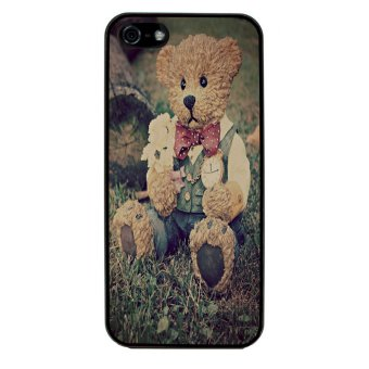 Sketch Bear Art Pattern Phone Case for iPhone 4/4S (Black)