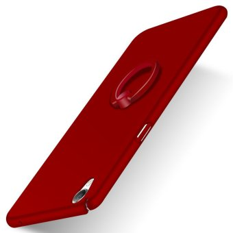 Slim Matte PC With Metal Ring Case Cover For Oppo F1 Plus / Oppo R9 (Red) - intl