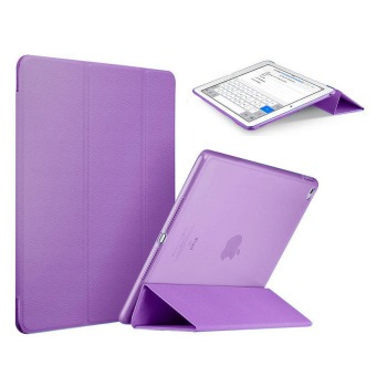 Slim Tri-fold PU Leather Case Smart Cover for Apple iPad Mini 4(Purple)