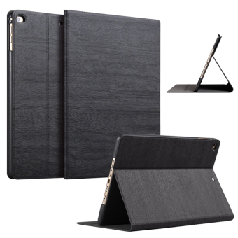 Slim Wood Grain Case PU Leather Cover for Apple iPad Air 1 / iPad Air 2 (Black)
