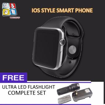 Smart Phone IOS Style Smart Watch (Black) with FREE LED Flashlight