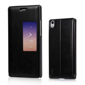 Smart View Auto Sleep Flip Cover Leather Case Slim Holster WithKickstand Phone Cases For Huawei Ascend P7 made in china