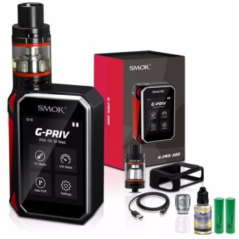 Smok G-Priv 220W Variable Temperature Control Electronic Cigarette Kit with TFV-8 Big Baby Coil Head Pre-Installed (Black/Red) with Vapeboro Premium Quality E-Juice 30ml (Flavor May Vary) & LHR Shrek 2500mAh OR 2600mah INR18650 Battery