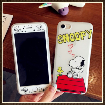 Snoopy iphone8/7 plus tempered Film Ultra-thin sets protective case phone case