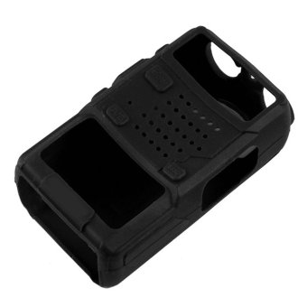 Soft Handheld Rubber Silicon Case for Baofeng UV-5R Walkie TalkieTwo Way Radio (Black)