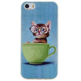 Soft TPU Cover Case for Apple iPhone 5 / 5s / SE (Cute Cat) - intl