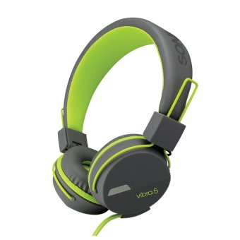 SonicGear Vibra 5 103dB Long Wear Comforts and Supreme Bass Stereo Headset with Mic (Grey/Green)