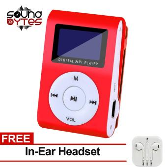 Sound Bytes Digital MP3 Player with LCD Screen (Red) with FREE In-Ear Headset
