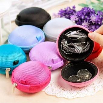 Sound Bytes Mini Round Storage Case Bag For Earphone Headphone(Black) - 4