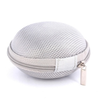 Sound Bytes Mini Round Storage Case Bag For Earphone Headphone(Silver)