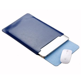 SOYAN Crazy Horse Leather Mouse Pad Pouch Laptop Sleeve for 13-inchMacBook Air/Pro - Blue - intl Price Philippines