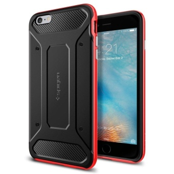 Spigen Neo Hybrid Carbon Case For Iphone 6 Plus (Red) With Free Earphone