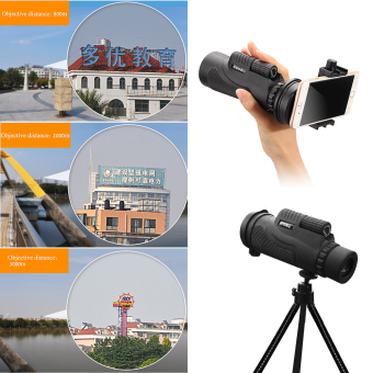 Sports Hiking Telescope 12x50 Monocular Camp Travel Telescope 12 Magnification for Cellphone Camera Lens with Tripod Universal Phone Stable Bracket - 5