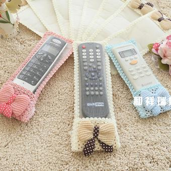 Starry Bow Fabric Remote Control Remote Control Sets of ProtectiveSleeve Television Air Conditioning Dust Cover -big size-Pink - intl