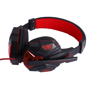 Stereo Gaming Headphone with Mic Wired Headsets with LED LightNoise Cancelling Headphone (Red) - intl - 2