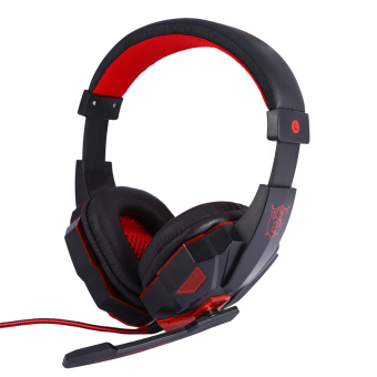 Stereo Gaming Headphone with Mic Wired Headsets with LED LightNoise Cancelling Headphone (Red) - intl