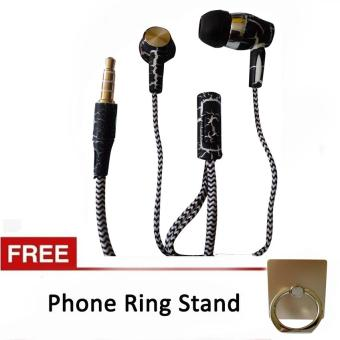 Stereo Sport Earphone/Headset with Mic for LG (Black) with FreePhone Ring Stand (Gold)