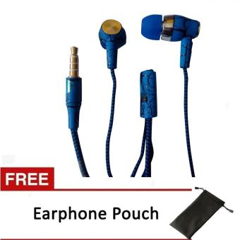 Stereo Sport Earphone/Headset with Mic for Nokia (blue) with FreeEarphone Pouch