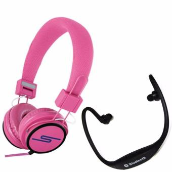 Stereo Y-6338 Wired On Ear Headphone(Pink) with Stereo BluetoothHeadset(Black)