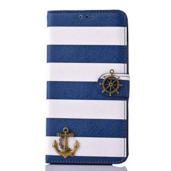 Stripes Anchor Rudder Wallet Case Cover For Samsung Galaxy Note 4Blue - intl