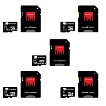 Strontium microSDHC Memory Card Class 10 32GB with Adapter Set of 5