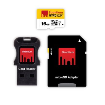 Strontium Nitro 16GB 433x Micro SD Card with Adapter and CardReader