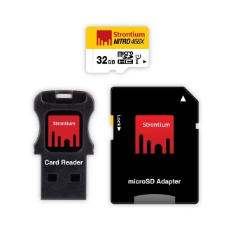 Strontium Nitro 32GB 466x Micro SD Card with Adapter and CardReader