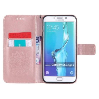Sunflower pattern PU Leather Wallet Stand Flip Case Cover ForSamsung Galaxy S6 Edge Plus Case - intl - 4