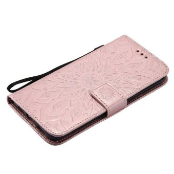 Sunflower pattern PU Leather Wallet Stand Flip Case Cover ForSamsung Galaxy S6 Edge Plus Case - intl - 5