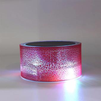 Super Bass Portable Bluetooth Wireless Speaker with Colorful LEDLight and Build-in Mic (Red)
