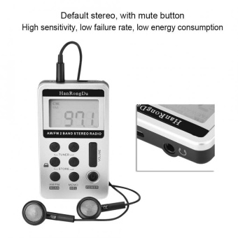 Sweatbuy Portable Mini FM/AM Digital Signal Processing Wireless Receiver Radio with Earphone - intl