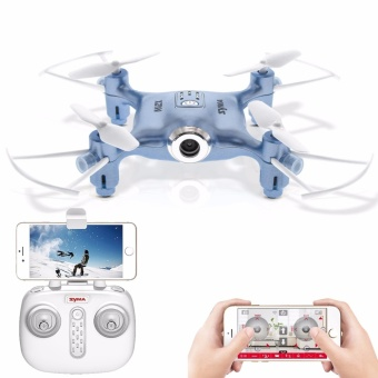 SYMA X21W Mini Drone With Camera Wi-Fi FPV 720P HD 2.4GHz 4CH 6-Axis RC Helicopter Altitude Hold RTF Remote Control (Blue)