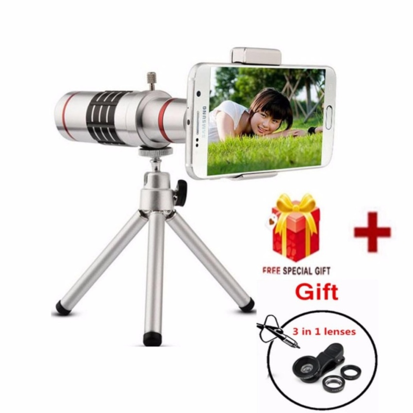 Telescope Lens Cellphone Mobile Phone 18x Camera Zoom optical Telephoto Lens For Samsung iphone HUAWEI Xiaomi Smart Phone(18x-Silver) - intl