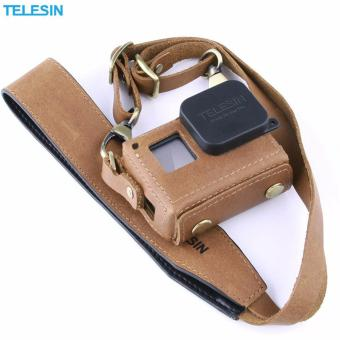 TELESIN Handmade Leather Case/Protector for GoPro Hero5/Hero 5Black Protective Bag with Neck Strap Belt and Lens Cap (Brown) Price Philippines