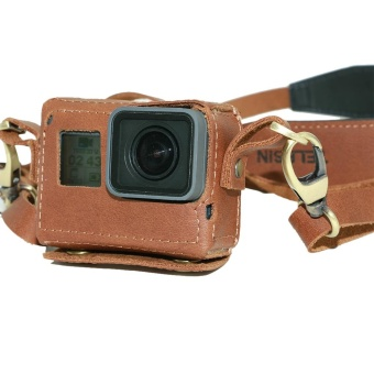 TELESIN Leather Camera Case Bag with Neck Strap for GoPro Hero 5 -intl - 4