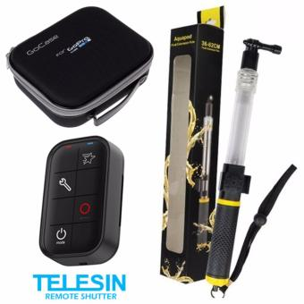 Telesin Waterproof Remote Watch for GoPro Hero 3, 4, 5, session(Black) with Aquapod Floating Monopod Pole (Clear/Black) withGoCase Pouch/Bag (Black) Price Philippines