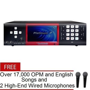 """The Platinum X-100 7"""" DVD LCD Karaoke Player (Black) with FREE Over 17,000 OPM and English Songs and 2 High-End Wired Microphones"""