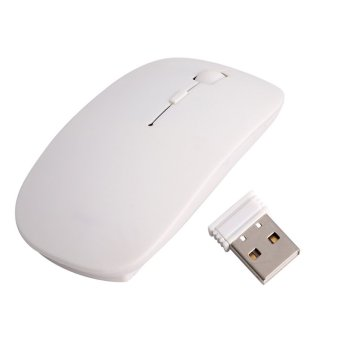 Thin USB Optical Wireless Mouse 2.4GHz Super Slim Mouse for ApplePC MacBook (White)