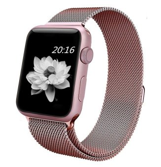 top4cus Milanese Magnetic Loop Stainless Steel Strap Watch BandsFor Apple Watch iWatch Series 1 and 2---38MM(Rose Gold)