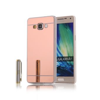 TPU Bumper Frame Mirror Effect PC Case Cover For Samsung Galaxy A5 (2015) (Rose Gold) - intl